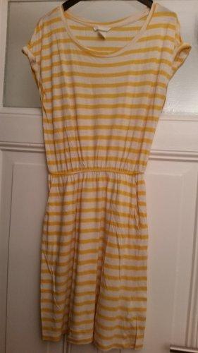 H&M Vestido de tela de jersey blanco-amarillo