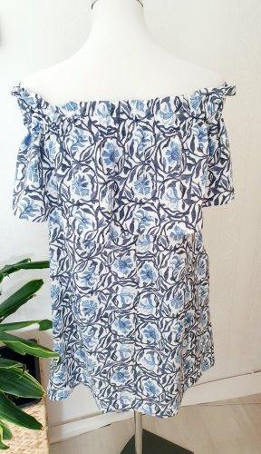 H&M Robe bandeau blanc-bleu azur