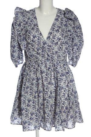 H&M Sommerkleid weiß-blau Allover-Druck Elegant