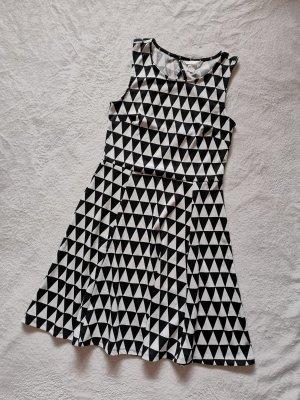 H&M Sommerkleid S 36 schwarz weiß Kleid Midi