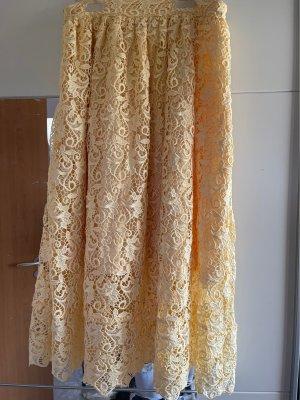 Zara Koronkowa spódnica jasnożółty