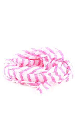 H&M Sommerschal weiß-pink Streifenmuster Casual-Look