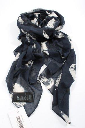 H&M Sommerschal blau-weiß abstraktes Muster Casual-Look