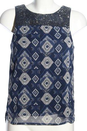 H&M Haut à fines bretelles bleu-blanc motif graphique style décontracté
