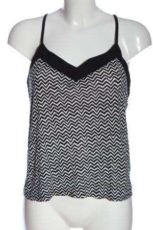 H&M Spaghettiträger Top weiß-schwarz grafisches Muster Casual-Look
