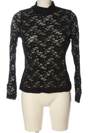 H&M Spitzenbluse schwarz Webmuster Casual-Look