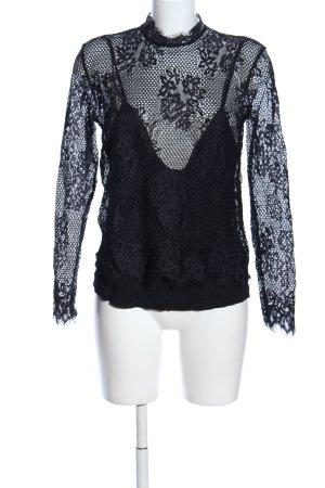 H&M Spitzenbluse schwarz Blumenmuster extravaganter Stil