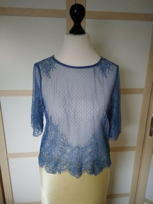 H&M x Coachella Collection Lace Blouse steel blue polyamide