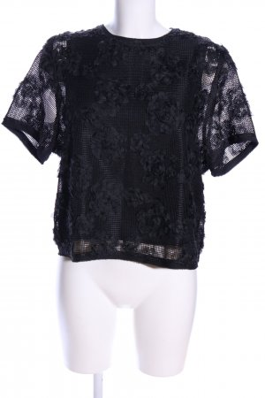 H&M Spitzenbluse schwarz Blumenmuster Elegant