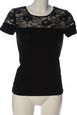 H&M Spitzenbluse schwarz Casual-Look
