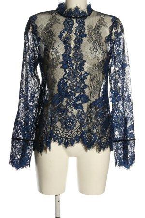 H&M Koronkowa bluzka niebieski Siateczkowy wzór W stylu casual