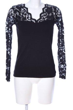 H&M Spitzenbluse schwarz Elegant