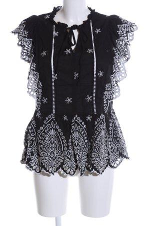 H&M Spitzenbluse schwarz-weiß abstraktes Muster Casual-Look
