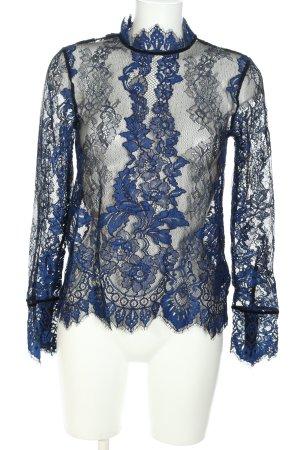 H&M Blouse en dentelle bleu-noir style décontracté