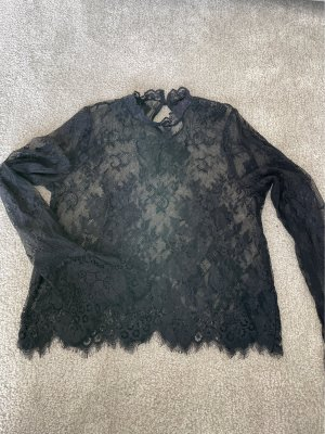 H&M Spitzenbluse in schwarz