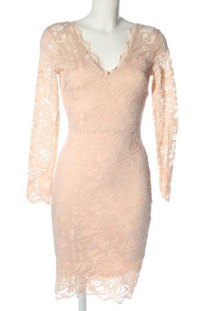 H&M Spitzenkleid nude Streifenmuster Elegant