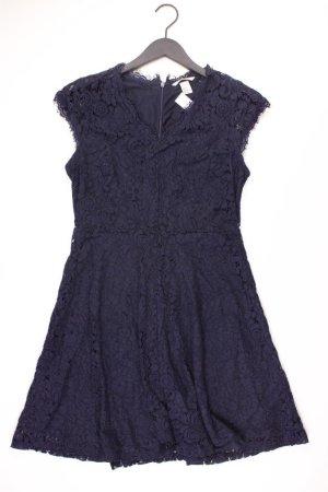 H&M Spitzenkleid Größe M Kurzarm blau aus Polyester