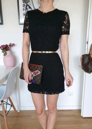 H&M Spitzenkleid Mini Kleid XXS XS 32 34 Kleines Schwarzes Cocktailkleid Strickkleid Spitze Neu
