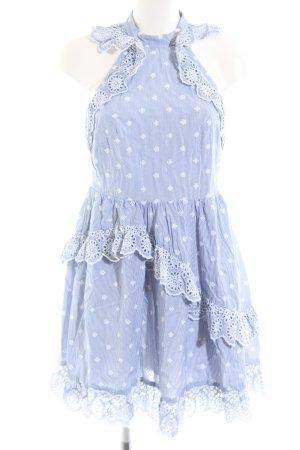 H&M Spitzenkleid weiß-blau Streifenmuster Marine-Look