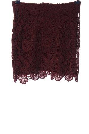 H&M Falda de encaje rojo estampado floral elegante