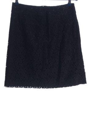 H&M Falda de encaje negro estampado repetido sobre toda la superficie elegante