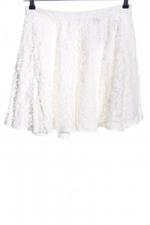 H&M Lace Skirt white mixed pattern casual look