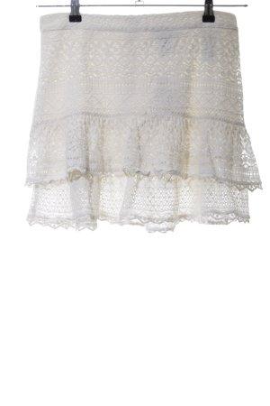 H&M Falda de encaje blanco puro estampado floral elegante