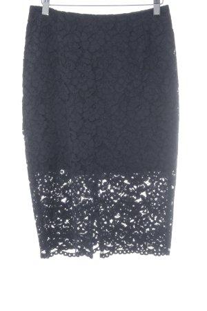 H&M Spitzenrock dunkelblau Blumenmuster Business-Look