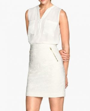 H&M Falda de encaje blanco-color oro