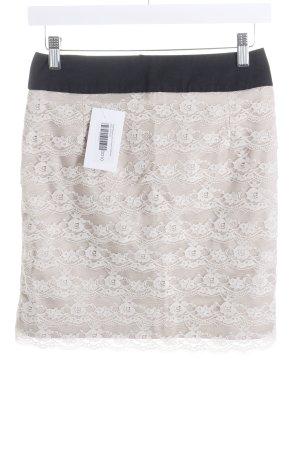 H&M Falda de encaje negro-beige claro estilo clásico