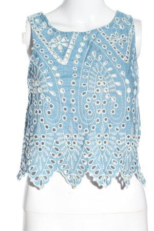 H&M Spitzentop blau-weiß Elegant