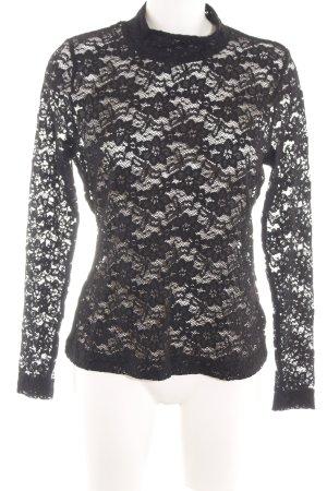 H&M Spitzentop schwarz-weiß Blumenmuster Casual-Look