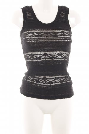 H&M Top de encaje negro-blanco puro elegante