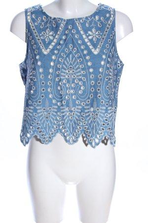 H&M Top di merletto blu-bianco look trasparente