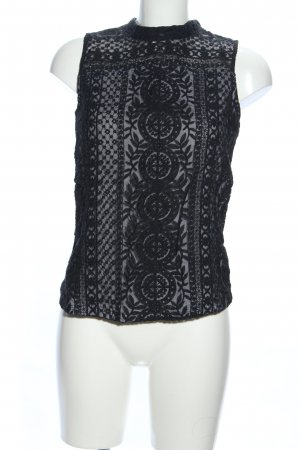 H&M Lace Top black mixed pattern business style