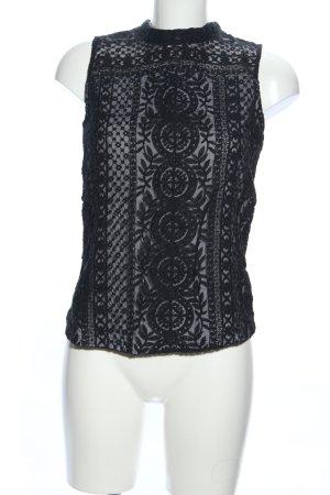 H&M Kanten topje zwart Patroon-mengeling zakelijke stijl