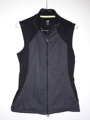H&M Sport ärmellose Laufjacke mit Reflektoren schwarz grau Gr. 34