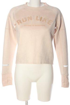 H&M Sport Sweatshirt nude Schriftzug gedruckt Casual-Look