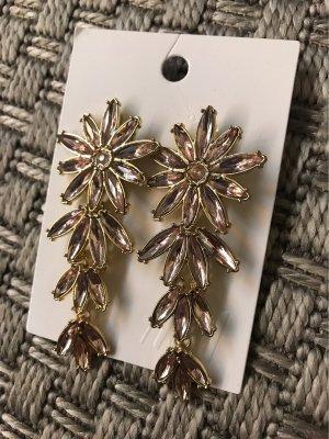 H&M Boucle d'oreille incrustée de pierres doré-rosé