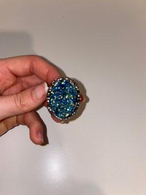 H&M Bague incrustée de pierres gris clair-bleu