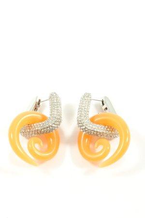 H&M Statement Earrings light orange-silver-colored glittery