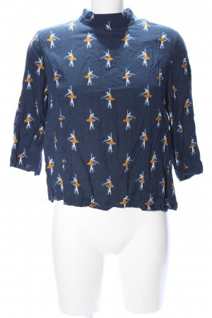 H&M Stand-Up Collar Blouse allover print casual look