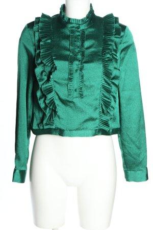 H&M Blouse met opstaande kraag groen elegant