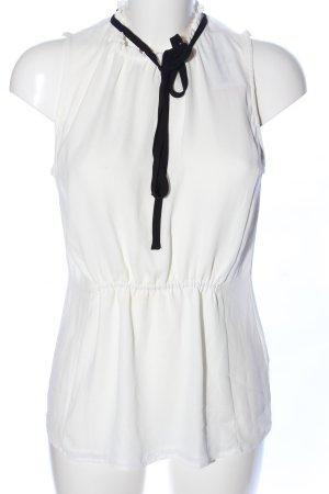 H&M Blusa de cuello alto blanco-negro look casual