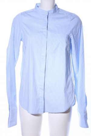 H&M Stand-Up Collar Blouse blue-white striped pattern business style