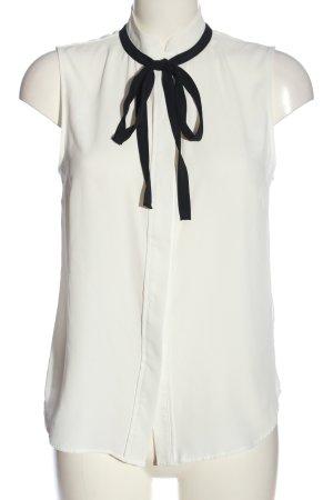 H&M Stehkragenbluse weiß-schwarz Business-Look