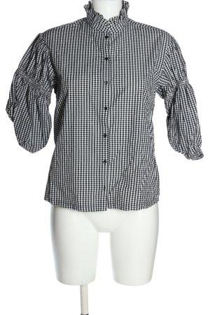 H&M Stehkragenbluse schwarz-weiß Karomuster Casual-Look