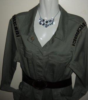 H&M Steine Steinchen Bluse Jacke Tunika Military khaki grün oversized 36 38 40