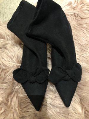 H&M Stiefeletten schwarz mit Schleifen Gr. 40 Wildlederoptik Schlüpfsteiellette