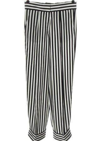 H&M Stoffhose weiß-schwarz Streifenmuster Casual-Look